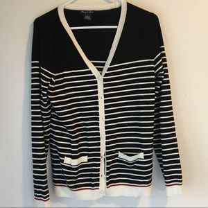 Black & white striped Audrey & Grace cardigan, L